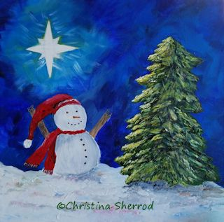 Christmas star snowman painting video
