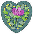 rose applique heart pattern